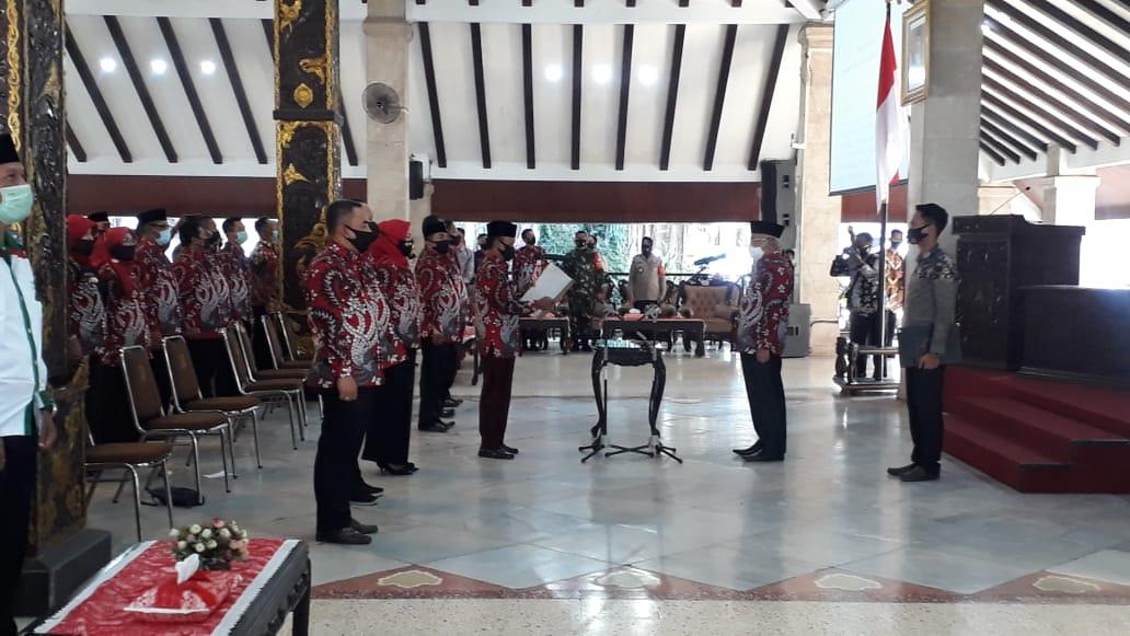 Peresmian Asosiasi Kepala Desa Kabupaten Malang di Pendopo Pringgitan, Kota Malang, Jum'at (3/7/2020)