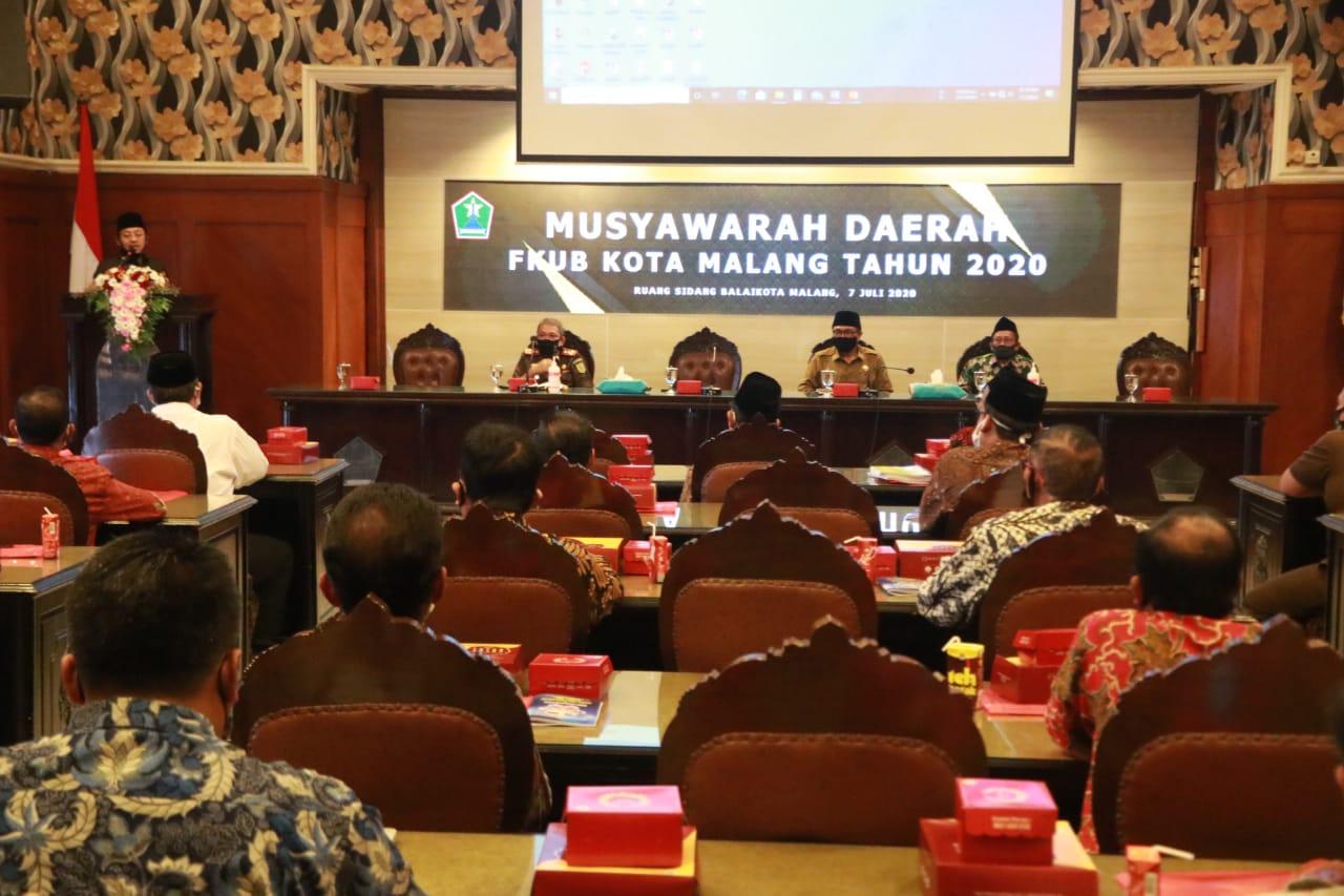 Walikota Malang H Sutiaji saat memberikan pemaparan di Musda FKUB Kota Malang, Selasa (7/7/2020)