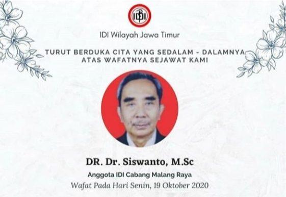 Dokter Siswanto anggota IDI Malang Raya meninggal karena Covid-19