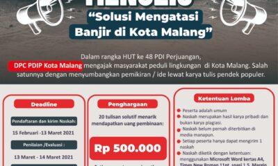 Invitasi Menulis DPC PDIP Kota Malang Berhadiah Rp 10 Juta