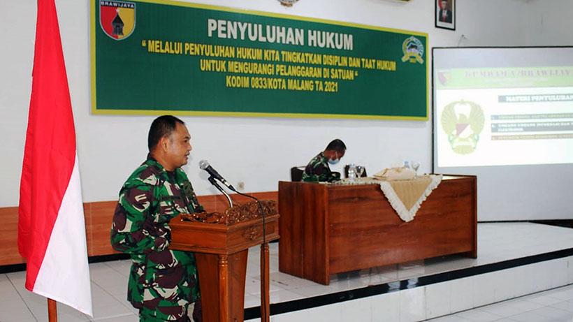 Kodim 0833 Kota Malang Gelar Penyuluhan Hukum Untuk Anggota TNI