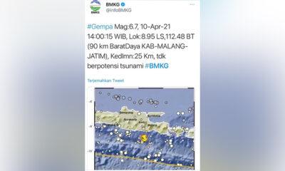Gempa Di Malang Berkekuatan 6,7 SR, Jatim Ikut Rasakan Getarannya